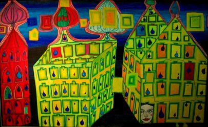 Hundertwasser- Yellow Houses, It hurts to wait with Love, if Love is somewhere else, 1966.