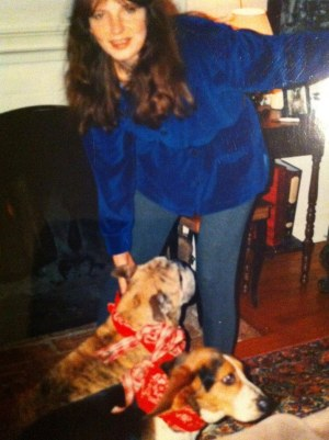 Deborah with Rufus (r) and Buster (l)